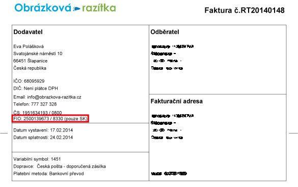Číslo účtu u FIO pro SK platby